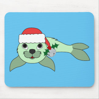 Light Green Baby Seal with Santa Hat & Silver Bell Mouse Pad