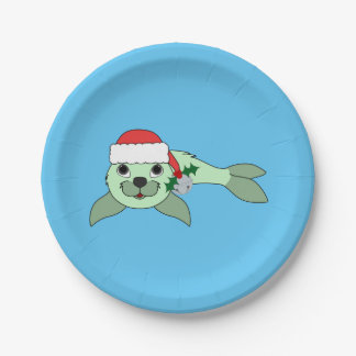 Light Green Baby Seal with Santa Hat & Silver Bell Paper Plate