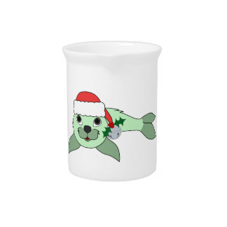 Light Green Baby Seal with Santa Hat & Silver Bell Pitchers