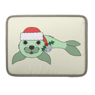Light Green Baby Seal with Santa Hat & Silver Bell Sleeves For MacBook Pro