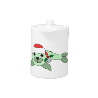 Light Green Baby Seal with Santa Hat & Silver Bell Teapot