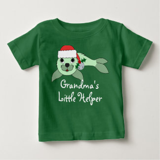Light Green Baby Seal with Santa Hat & Silver Bell Tee Shirt