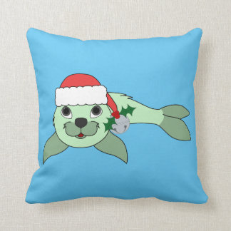 Light Green Baby Seal with Santa Hat & Silver Bell Throw Pillow