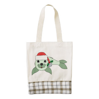 Light Green Baby Seal with Santa Hat & Silver Bell Zazzle HEART Tote Bag