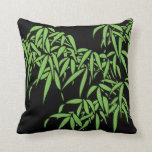 Light Green Bamboo Leaves on Black Pillow