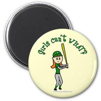 Light Green Baseball 2 Inch Round Magnet