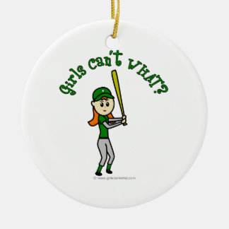 Light Green Baseball Ceramic Ornament