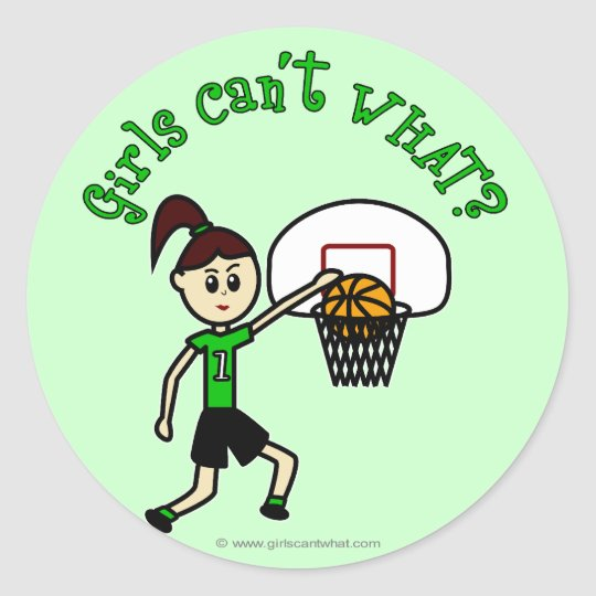 LIght Green Basketball Classic Round Sticker