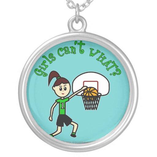 LIght Green Basketball Girl Round Pendant Necklace