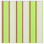 [ Thumbnail: Light Green, Beige & Dark Red Lines Fabric ]