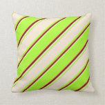 [ Thumbnail: Light Green, Beige & Dark Red Lines Throw Pillow ]