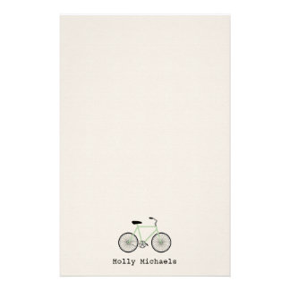 Light Green Bicycle Personalized Stationery