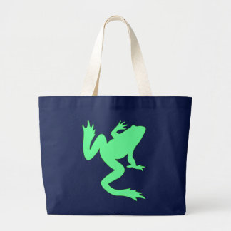Light Green Big Frog Silhouette Large Tote Bag