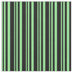 [ Thumbnail: Light Green & Black Colored Lines/Stripes Pattern Fabric ]