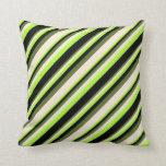 [ Thumbnail: Light Green, Black, Dark Olive Green & Beige Throw Pillow ]