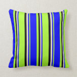 [ Thumbnail: Light Green, Blue, Beige & Black Colored Lines Throw Pillow ]