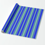 [ Thumbnail: Light Green & Blue Colored Striped/Lined Pattern Wrapping Paper ]