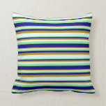[ Thumbnail: Light Green, Blue, Dark Goldenrod & Light Cyan Throw Pillow ]