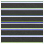 [ Thumbnail: Light Green, Blue, Lavender & Black Lines Fabric ]