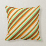 [ Thumbnail: Light Green, Brown, Dark Orange & Bisque Colored Throw Pillow ]