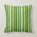 [ Thumbnail: Light Green, Brown, Green, Dark Green, and Beige Throw Pillow ]
