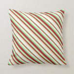 [ Thumbnail: Light Green, Brown, Tan & White Colored Pattern Throw Pillow ]