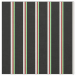[ Thumbnail: Light Green, Brown, White & Black Stripes Pattern Fabric ]