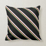 [ Thumbnail: Light Green, Brown, White & Black Stripes Pattern Throw Pillow ]