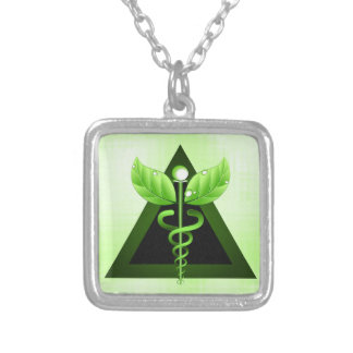 Light Green Caduceus Alternative Medicine Symbol Silver Plated Necklace