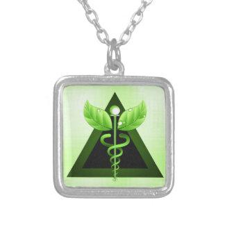 Light Green Caduceus Alternative Medicine Symbol Square Pendant Necklace