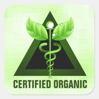 Light Green Caduceus Symbol Certified Organic Square Sticker