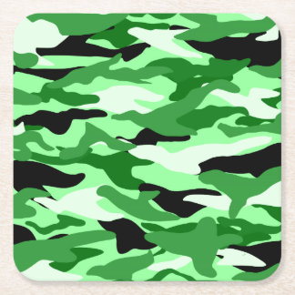 Light green camouflage square paper coaster