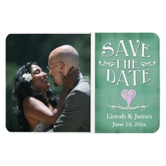 Light green chalkboard heart save the date