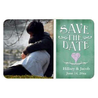 Light green chalkboard heart save the date magnet