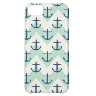 Light Green Chevron Anchors Case For iPhone 5C