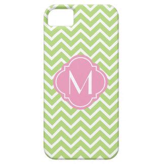 Light Green Chevron Zigzag Stripes with Monogram iPhone SE/5/5s Case