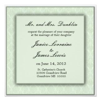 Light  green cream elegant damask wedding announcement