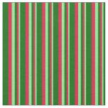 [ Thumbnail: Light Green, Crimson & Dark Green Colored Stripes Fabric ]