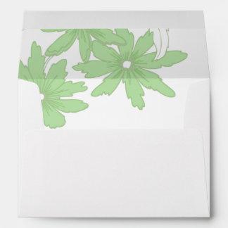Light Green Daisies on White Envelope