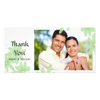 Light Green Daisies on White Thank You Card