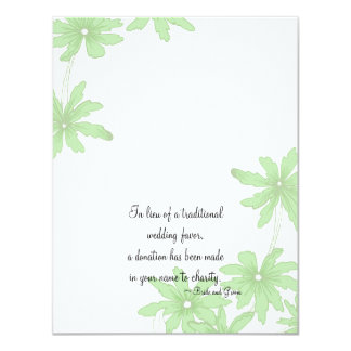Light Green Daisies Wedding Charity Favor Card