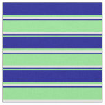[ Thumbnail: Light Green, Dark Blue, and Mint Cream Stripes Fabric ]