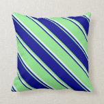 [ Thumbnail: Light Green, Dark Blue, and Mint Cream Stripes Throw Pillow ]