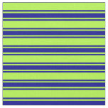 [ Thumbnail: Light Green & Dark Blue Lines/Stripes Pattern Fabric ]
