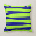 [ Thumbnail: Light Green & Dark Blue Lines/Stripes Pattern Throw Pillow ]