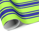 [ Thumbnail: Light Green & Dark Blue Lines/Stripes Pattern Wrapping Paper ]