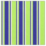 [ Thumbnail: Light Green, Dark Blue & Mint Cream Colored Lines Fabric ]