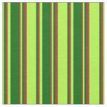 [ Thumbnail: Light Green, Dark Green & Brown Stripes Fabric ]