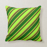 [ Thumbnail: Light Green, Dark Green & Brown Stripes Pillow ]