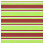 [ Thumbnail: Light Green, Dark Red, and Beige Colored Stripes Fabric ]